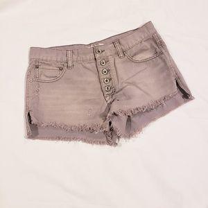 Free People Dusty Grey Distressed Cutoff Shorts